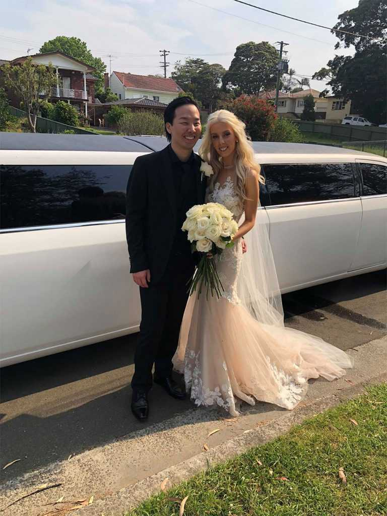 bride and stretch limousine